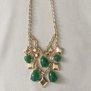Jewelry - NWOT Hunter Emerald Green Gold Statement Necklace